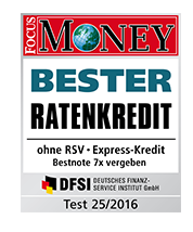 Der Express-Kredit wurde durch das DFSI und Focus Money ausgezeichnet