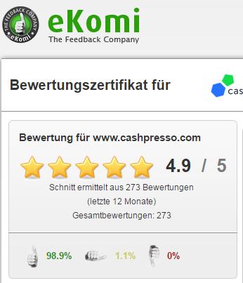 Screenshot: Cashpresso bei eKomi