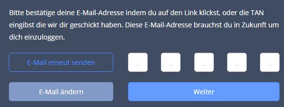 Der erste Schritt im Cashpresso Antrag: Die Eingabe einer E-Mail-Adresse