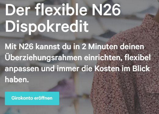 Screenshot: N26 bietet auch einen Dispokredit an
