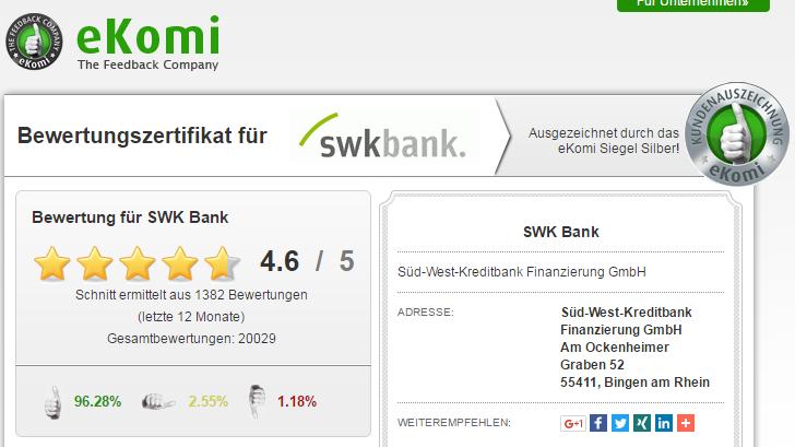 Screenshot: Nutzer von Economy bewerteten die SWK Bank mit 4,6 von fünf möglichen Sternen