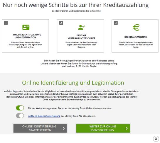 Screenshot: Wird der Kredit genehmigt, wird der weitere Ablauf angezeigt