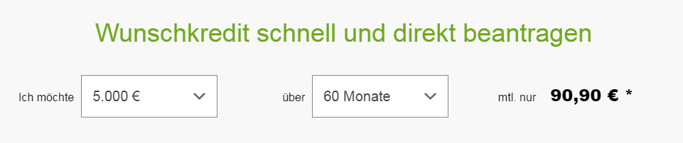 Screenshot: Hier beginnt der Antrag zum Couchkredit