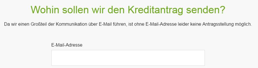 Screenshot: Unterlagen werden per E-Mail geschickt