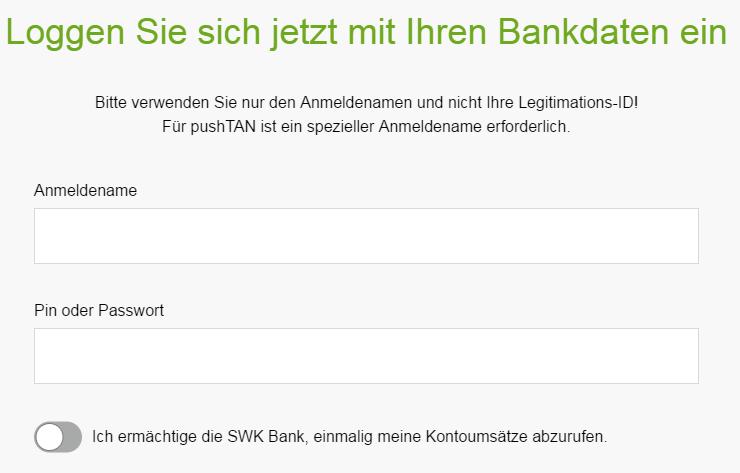 Screenshot: Es ist ein Login ins Gehaltskonto erforderlich