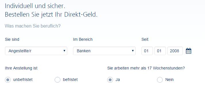 Screenshot: Fragen der Targobank zum Angestelltenverhältnis