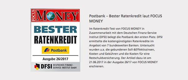 Die Postbank wurde durch Focus Money ausgezeichnet