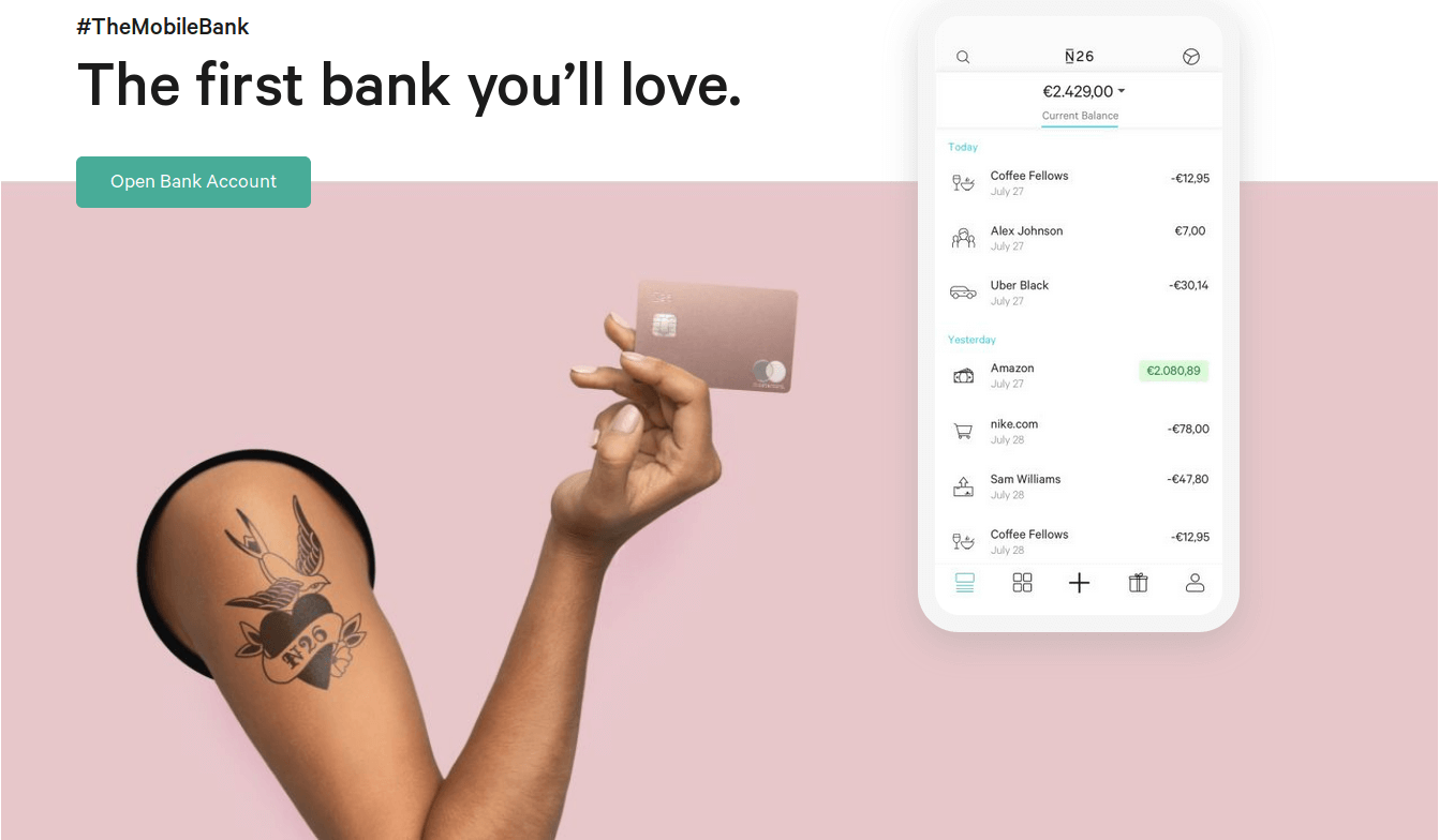 N26 - The first bank you will love. Bildquelle: N26 GmbH