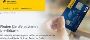 Die Postbank hat die Zinsen für Kreditkarten Teilzahlungen und Dispokredite gesenkt (Quelle: www.postbank.de)
