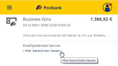Postbank Kreditpotenzial-Service - Ermitteln Sie jetzt Ihr Kreditpotenzial. Bildquelle: Postbank